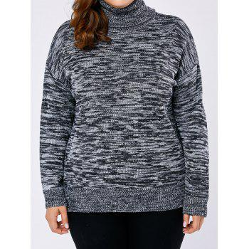 Plus Size Drop Shoulder High Low Turtleneck Sweater - GRAY GRAY