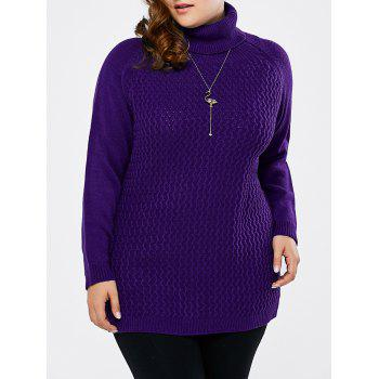 Plus Size Turtleneck Raglan Sleeve Sweater