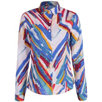 Abstract Print Long Sleeve Shirt