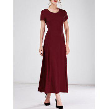 Short Sleeve Long A Line Formal Dress