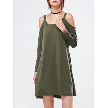 Cold Shoulder Mini Casual Long Sleeve Swing Dress