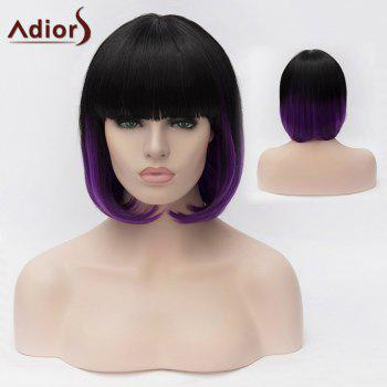 Adiors Full Bang Short Silky Straight Bob Colormix Synthetic Wig