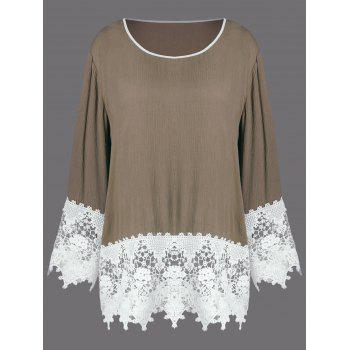 Plus Size Tunic Lace Insert T-Shirt - LIGHT BROWN 2XL
