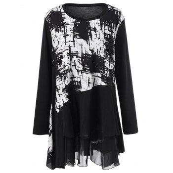 Plus Size Ink Painting Panel Tunic T-Shirt - BLACK BLACK