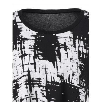 Plus Size Ink Painting Panel Tunic T-Shirt - BLACK 3XL