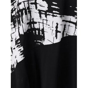 Plus Size Ink Painting Panel Tunic T-Shirt - BLACK XL