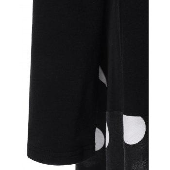 Plus Size Polka Dot Long Asymmetric T-Shirt - BLACK BLACK