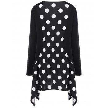 Plus Size Polka Dot Long Asymmetric T-Shirt - BLACK 2XL
