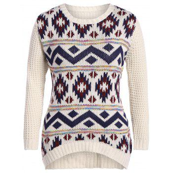 Buy Plus Size Geometric Panel Chunky Knit Sweater OFF WHITE