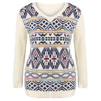 Buy Plus Size V Neck Geometric Pattern Chunky Sweater OFF WHITE