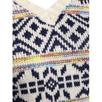 Plus Size V Neck Geometric Pattern Chunky Sweater - 4XL 4XL