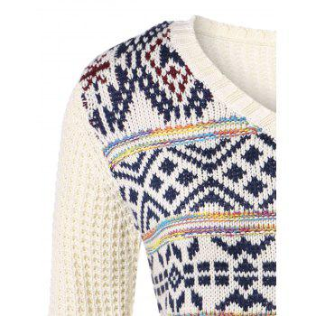 Plus Size V Neck Geometric Pattern Chunky Sweater - OFF WHITE OFF WHITE
