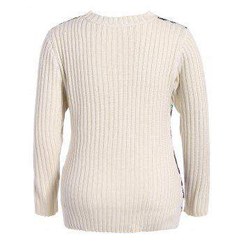 Plus Size Geometric Panel Chunky Sweater - OFF WHITE OFF WHITE