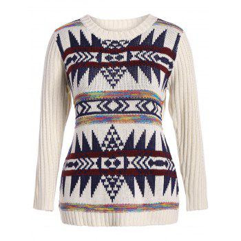 Plus Size Geometric Panel Chunky Sweater - OFF-WHITE OFF WHITE