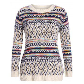 Plus Size Argyle Chunky Knit Sweater - OFF-WHITE OFF WHITE