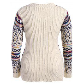 Plus Size Argyle Chunky Knit Sweater - OFF WHITE OFF WHITE