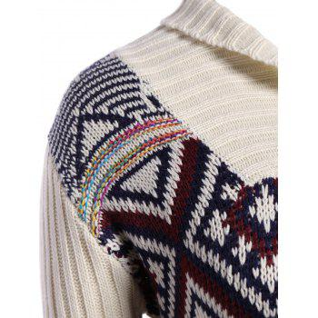 Plus Size Geometric Turtleneck Chunky Sweater - OFF WHITE OFF WHITE