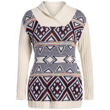 Plus Size Geometric Turtleneck Chunky Sweater - OFF-WHITE 2XL