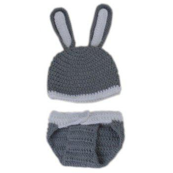 Manual Crochet Rabbit Design Infant Photography Clothes Set