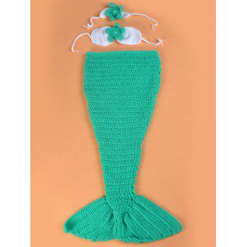 Crochet Photography Clothes Mermaid Blanket Set For Baby - GREEN GREEN