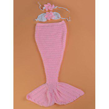 Crochet Photography Clothes Mermaid Blanket Set For Baby - PINK PINK