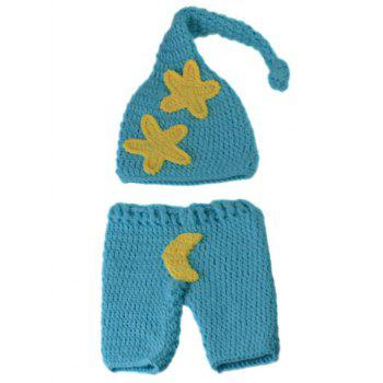 Manual Crochet Star Moon Pattern Infant Photography Clothes Set - LAKE BLUE LAKE BLUE