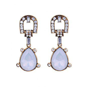 Faux Gem Rhinestone Teardrop Earrings