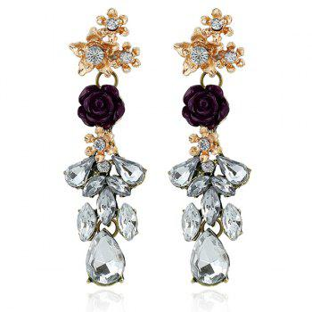 Rhinestone Flower Shape Dangle Earrings