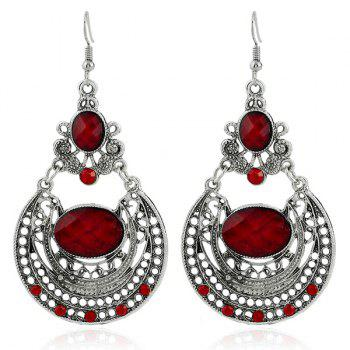 Rhinestone Hollow Out Oval Earrings