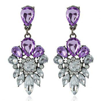 Faux Gem Rhinestone Water Drop Earrings