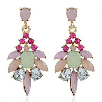 Faux Gem Rhinestone Geometric Dangle Earrings
