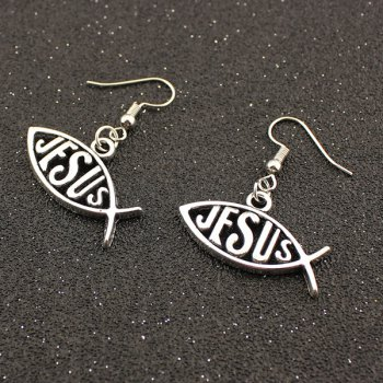Letter Fish Hollowed Drop Earrings