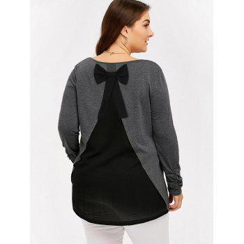 Plus Size Bowknot Insert Tunic T-Shirt - BLACK AND GREY 2XL