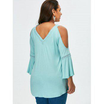 V Neck Plus Size Crochet Trim Cold Shoulder Tee - XL XL