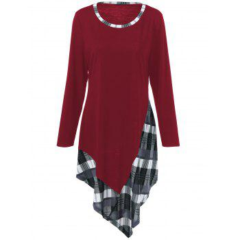 Plus Size Plaid Trim Asymmetric T-Shirt - DEEP RED DEEP RED