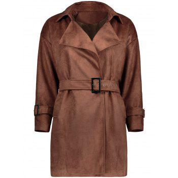 Sueded Trench Coat With Belt