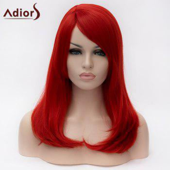 Adiors Side Bang Long Natural Straight Tail Adduction Synthetic Wig
