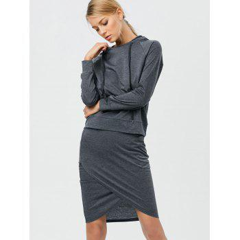 Drawstring Hoodie with Pencil Skirt - DEEP GRAY DEEP GRAY