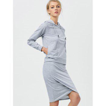 Drawstring Hoodie with Pencil Skirt - LIGHT GRAY S