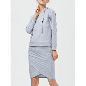 Drawstring Hoodie with Pencil Skirt