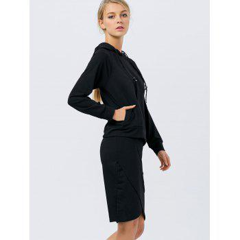 Drawstring Hoodie with Pencil Skirt - BLACK BLACK