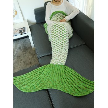 Hollow Out Mesh Double Deck Crochet Knit Mermaid Blanket Throw