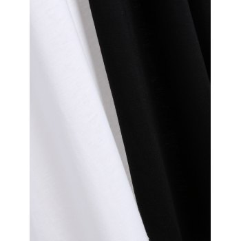 Plus Size V Neck Asymmetrical Two Tone T-Shirt - WHITE/BLACK L