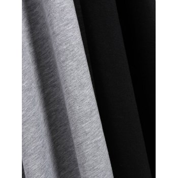 Plus Size V Neck Asymmetrical Two Tone T-Shirt - BLACK/GREY 2XL