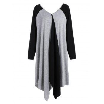 Plus Size V Neck Asymmetrical Two Tone T-Shirt - BLACK AND GREY L