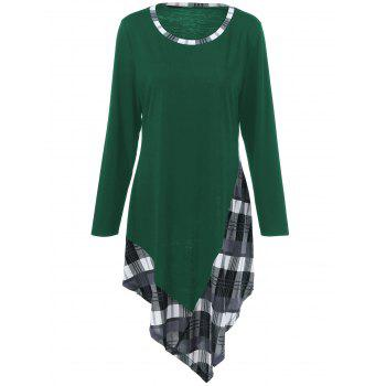 Plus Size Plaid Trim Asymmetric T-Shirt - GREEN GREEN