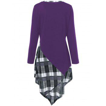 Plus Size Plaid Trim Asymmetric T-Shirt - DEEP PURPLE 4XL