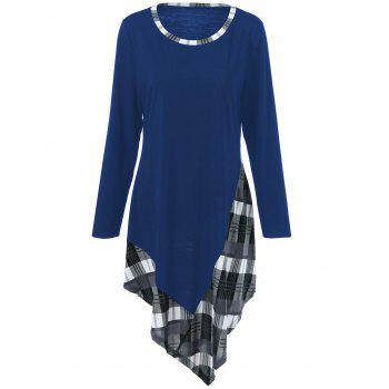 Plus Size Plaid Trim Asymmetric T-Shirt - NAVY BLUE 2XL