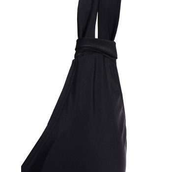 Plus Size Skirted Ruched One Piece Criss Cross Swimsuit - BLACK 3XL