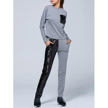 Pocket Sweatshirt and Sequins Jogger Pants